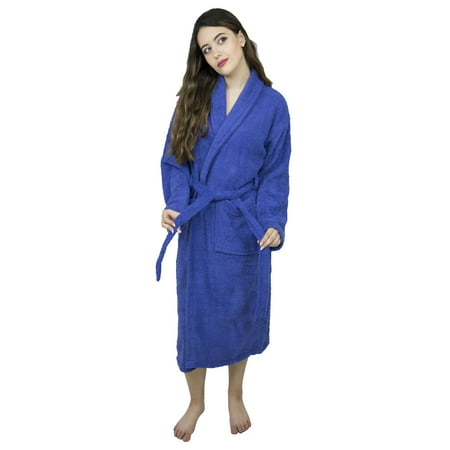 Women Shawl Collar Bathrobe Ladies Cotton Terry Kimono Collar Luxury Spa Robes