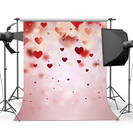 GreenDecor Polyster 5x7ft Photography Backdrop Valentine's Day Red Hearts Bokeh Halos Glitter Heart Romantic Wedding Backdrops for Baby Girl Princess Lover Portraits Background Photo Studio (Best Canon Lens For Wedding And Portrait Photography)