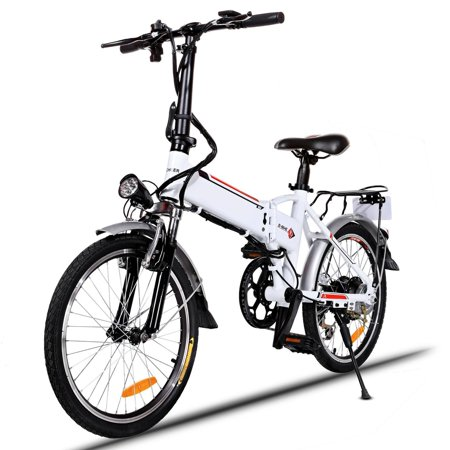 Kimimart Adult 7 Speed Folding Electric Mountain Bike for Men and Women, 18.7 inch Wheel Aluminum Alloy Frame E-Bike Bicycle City Commuter with Rear Rack,330lbs Capacity and 50 Mile