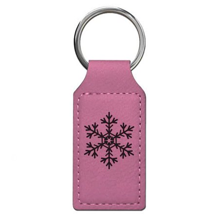 Keychain - Snowflake - Personalized Engraving Included (Pink Rectangle)