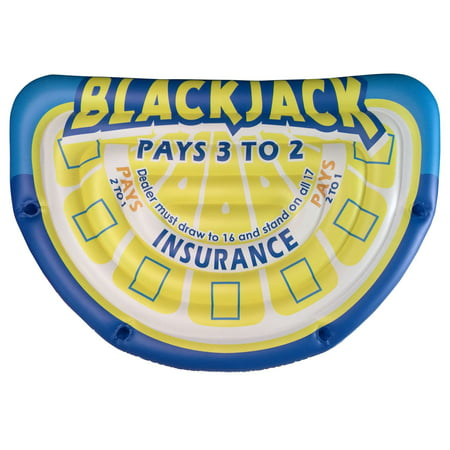 Big Sky Floating 7 Player Blackjack and Poker Mat, Inflatable Water Tube, Yellow/Blue