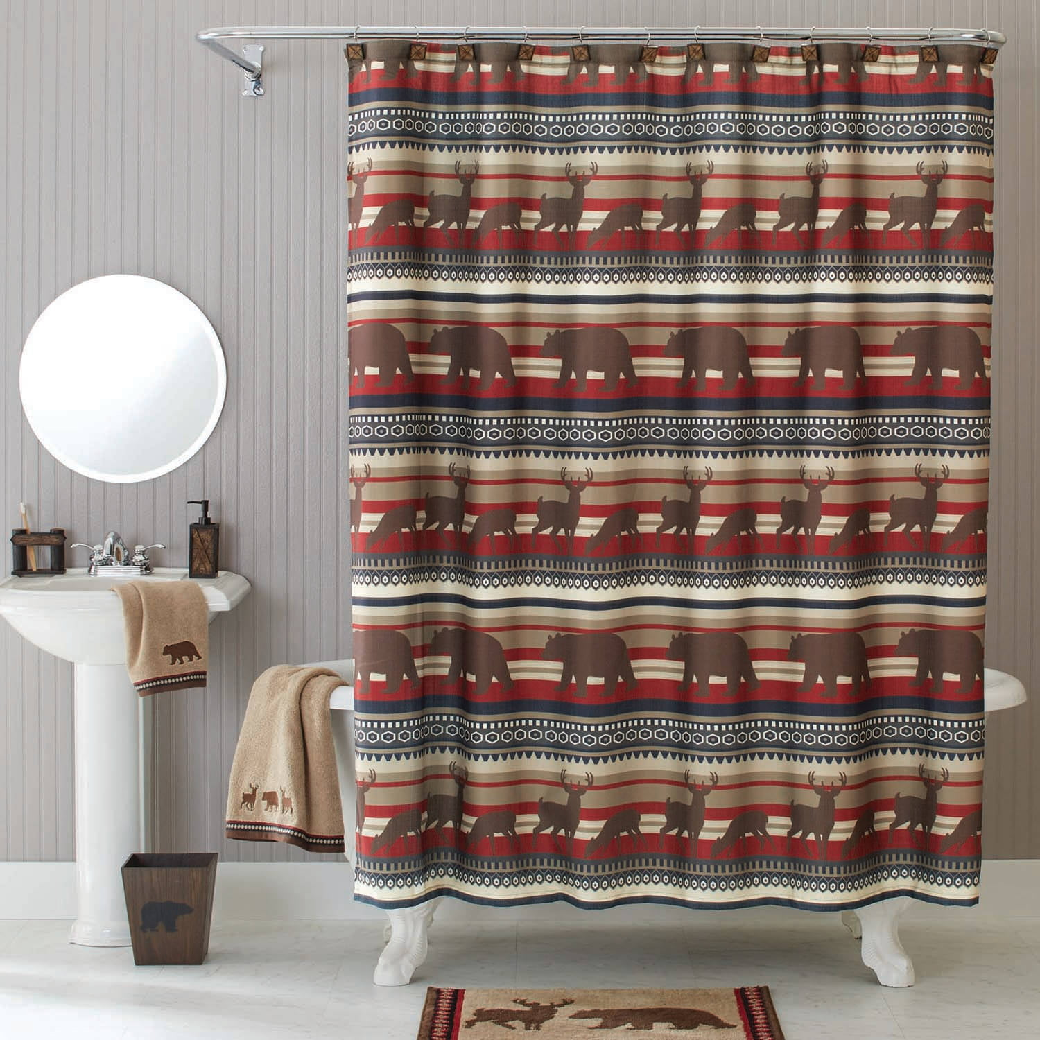 extra brown and red shower curtain. Better Homes and Gardens Deer Stripe Fabric Shower Curtain  Walmart com
