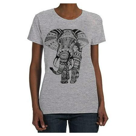 Women Elephant T-Shirt Short Sleeve Graphic Tee Mandala Casual Tank Top S M L - Elephant Womens Light