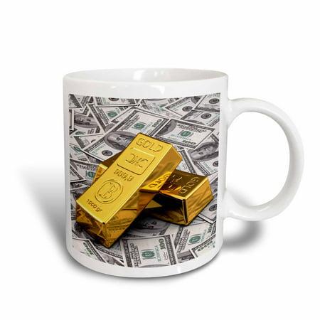 3dRose Gold bars bar bullion cash money dollar hundred bill bills bank note banknote finance concept - Ceramic Mug, 11-ounce (Dollar Bear)