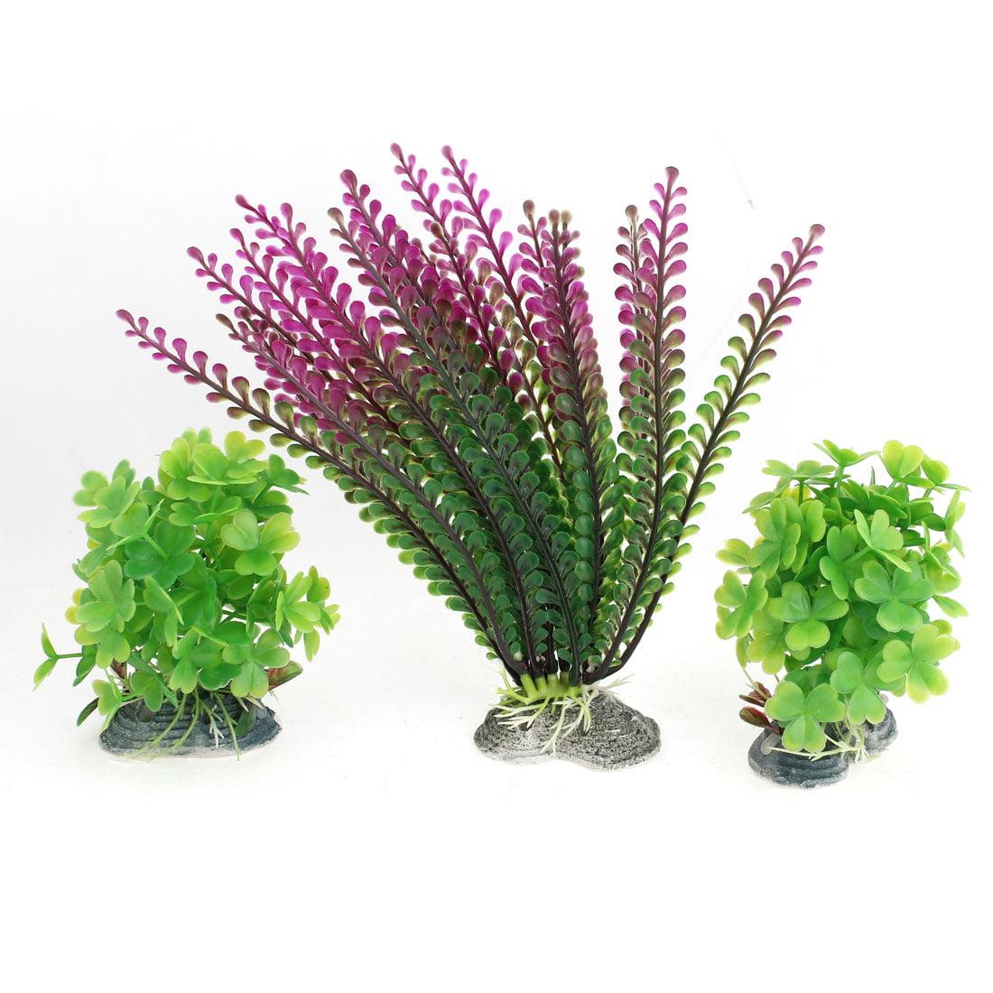 Unique Bargains Aquarium Ceramic Base Purple Green Artificial Plant Grass 3 Pcs