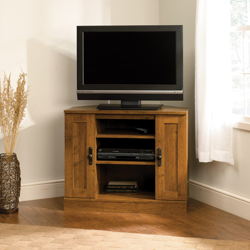 "Sauder Harvest Mill Corner Entertainment Stand for TVs up to 35"", Abbey Oak Finish"