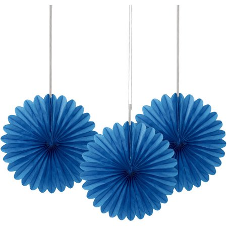 Royal Blue Tissue Paper Fan Decorations, 6in, 3ct