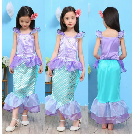 Fancy Girls Kids Bling Mermaid Princess Pageant Party Long Tail Maxi Dress