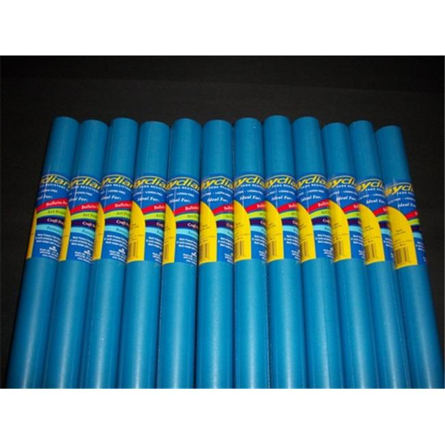RiteCo Raydiant 80071 Riteco Raydiant Fade Resistant Art Rolls Medium Blue 24 In. X 12 Ft. 12 Pack