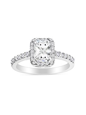DTLA Sterling Silver Emerald Cut Cubic Zirconia Halo Engagement Ring (10)