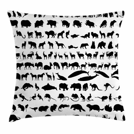 Animal Silhouette Pillow Covers : Zoo Throw Pillow Cushion Cover, Silhouettes of Animals Big Collection Wildlife Nature