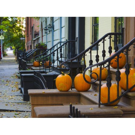 USA, New York, Brooklyn, Brooklyn Heights, Halloween Pumpkins Print Wall Art By Alan - Halloween Stores New York