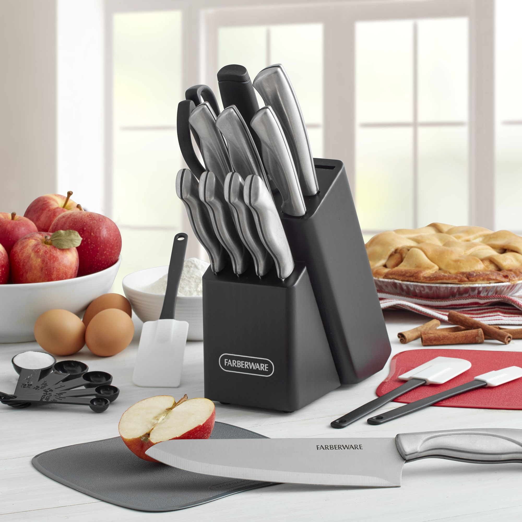 Farberware 22-Piece Stainless Steel Knife Set with Cutting Mats by Lifetime Brands