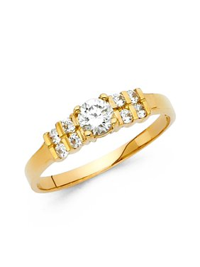Ladies 2.5mm 14K Solid Yellow Gold Cubic Zirconia Engagement Wedding Ring, Size 5.5
