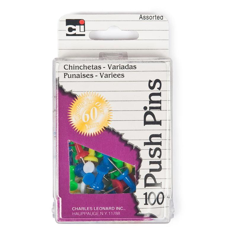 PUSH PINS ASSORTED COLORS 100/BOX