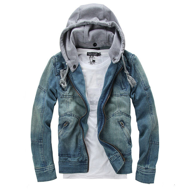 Amtify Mens Denim Jean Jacket With Removable Hood Walmartcom