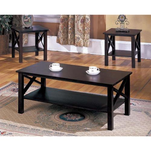 K and B Furniture Co Inc K&B 3-piece Merlot Finish Cocktail End Tables Set