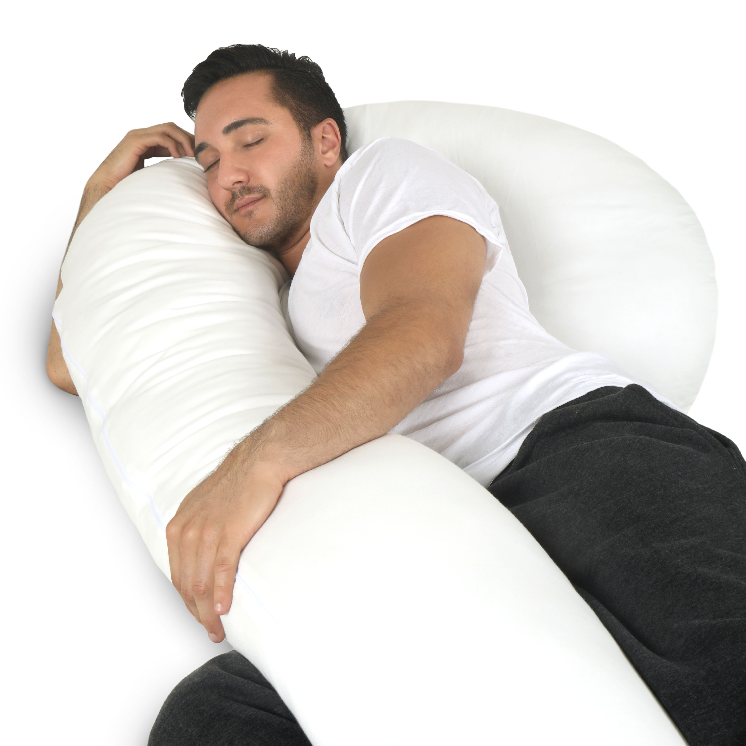 Full Body Pillow - C Shaped Body Pillow for Men and Women - includes 100% Cotton Cover