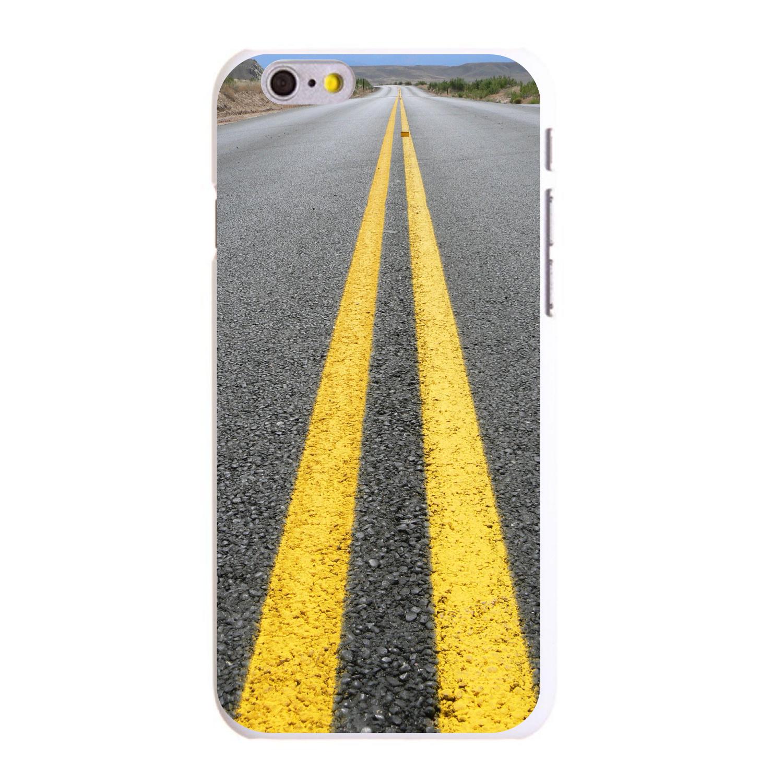 "CUSTOM White Hard Plastic Snap-On Case for Apple iPhone 6 PLUS / 6S PLUS (5.5"" Screen) - Street Asphalt Yellow Line"