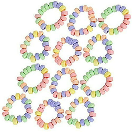 Stretchable Candy Bracelet - Pack of 12 Colorful Fruit-flavored Chewables for Party Favors, Cake Decorations, Novelty Supplies or Treats for Halloween, Christmas, Baby Showers by Kidsco - Halloween Treats Decorations