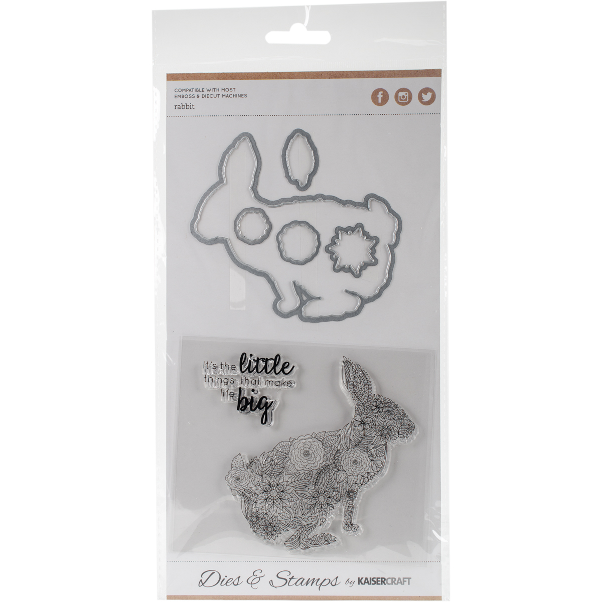 """Kaisercraft Dies and Stamps, Rabbit, .5"""" x .5"""" to 3.75"""" x 3.75"""""""