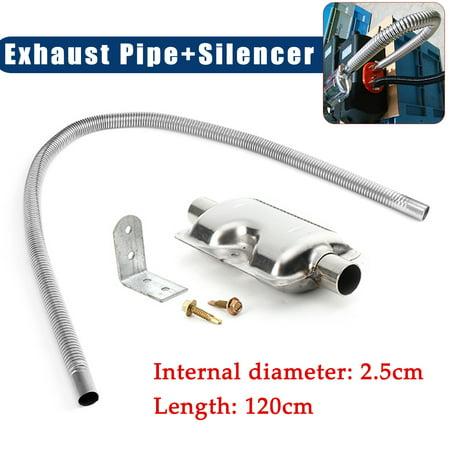 120cm Stainless steel Exhaust Pipe + Silencer For Car Parking Air Diesel Heater Stainless Steel Diesel Exhaust Stacks