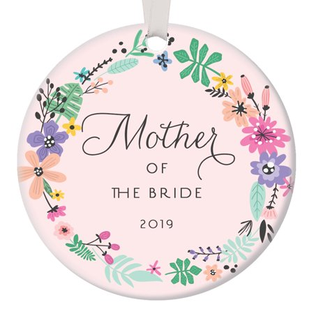 Daughter Porcelain (Pink Mother of the Bride Ornament 2019 Gift for Bride's Mom Christmas Ornament Wedding Party Thank You Favor Daughter Parents Circle Ceramic Present 3