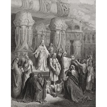 Engraving From The Dore Bible Illustrating Ezra I 7 To 11 Cyrus Restoring The Vessels Of The Temple By Gustave Dore 1832-1883 French Artist And Illustrator Canvas Art - Ken Welsh  Design Pics (13 x 17
