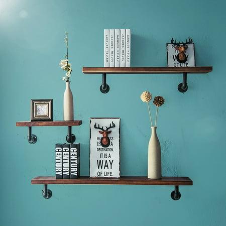 Retro Vintage Industrial Wood Metal Wall Shelf Display Floating Storage Pipe with Shelf Bracket,3