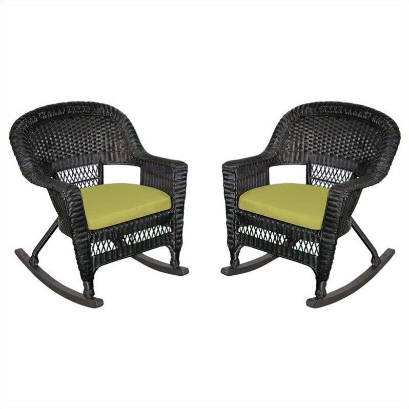 Jeco Wicker Rocker Chair in Black with Green Cushion (Set of 2)