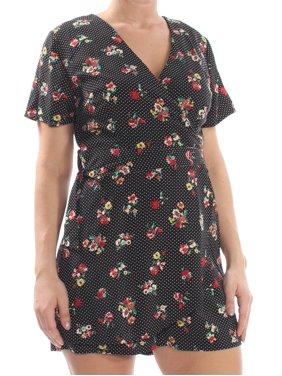 19 COOPER Womens Black Lace  Open Back Polka Dot Floral Print Short Sleeve V Neck Romper  Size: L