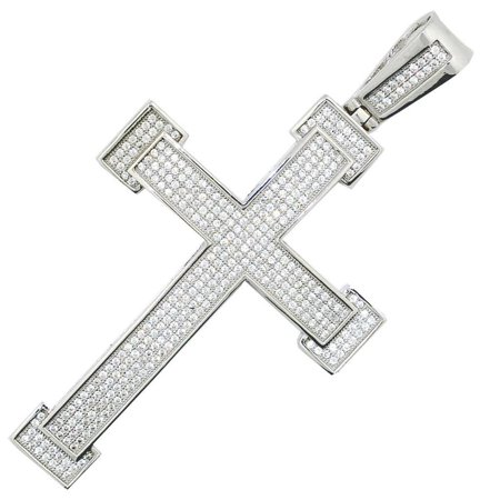 Sterling silver Cross Charm With CIced Out CZ Pave Set 65.5mm Tall Mens Cross Pendant Extra Large - Pave Butterfly Charm
