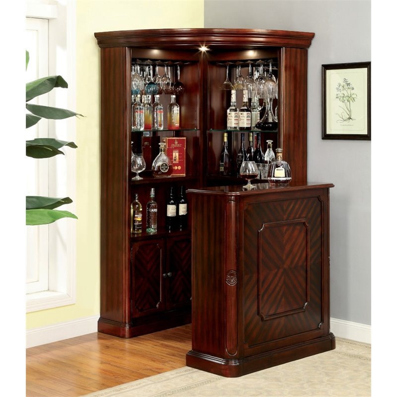 Delicieux Product Image Furniture Of America Myron Traditional Corner Home Bar In  Dark Cherry