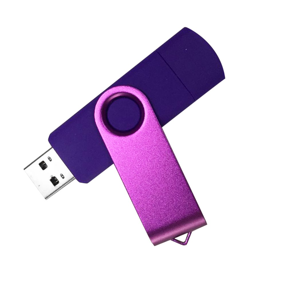 High Speed OTG USB2.0 Flash Drive Memory Stick Metal USB Pen Pendrives U Disk for Android Smartphone Computer Purple