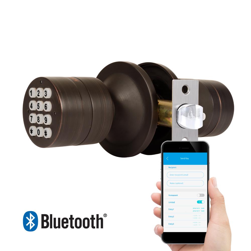 TurboLock Weatherproof Electronic Smart Bluetooth Keyless Door Lock w/ App, Live Monitoring, and Keyless Entry - Easy Installation