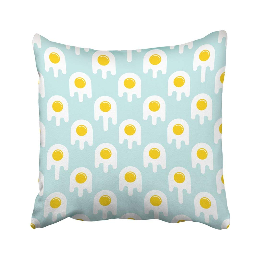 BPBOP Colorful Artistic Of Scrambled Eggs On Light Blue White Breakfast Children Diet Dish Eat Pillowcase Throw Pillow Cover Case 18x18 inches
