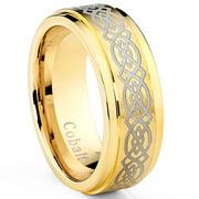 Goldtone Plated Men's Cobalt Wedding Band Ring With Etched Celtic Design, 8mm Comfort Fit