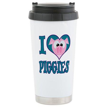 CafePress - I Love (Heart) Piggies (Pigs) Stainless Steel Trav - Stainless Steel Travel Mug, Insulated 16 oz. Coffee Tumbler ()