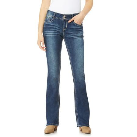 WallFlower Women's Juniors Luscious Curvy Embellished Pocket Bootcut Jeans