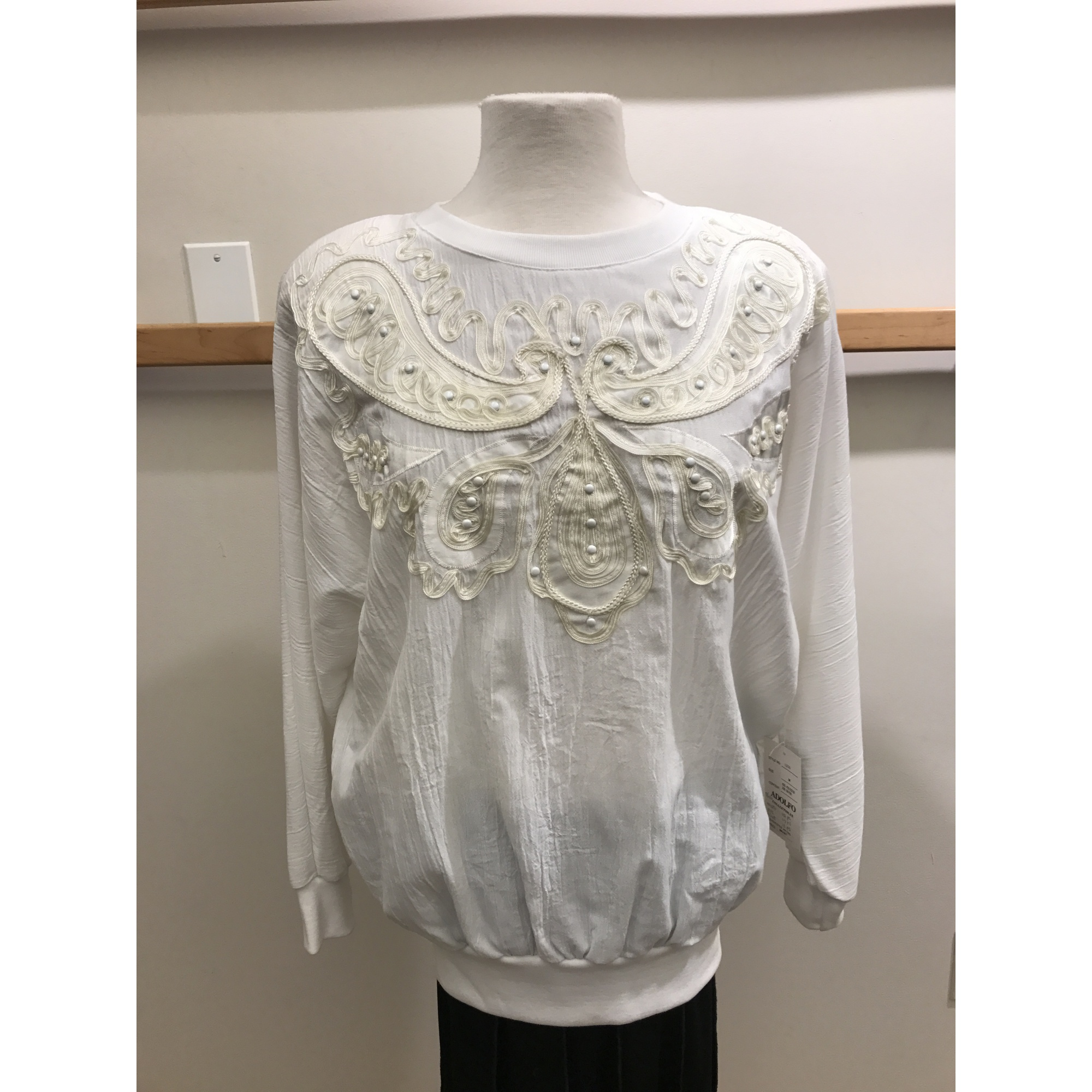 Pullover Soutache And Studded Blouse With Banded Bottom And Sleeve