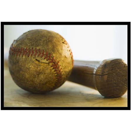 Antique Baseball With Baseball Bat by Eazl Black Metallic Image Box Sports Gear