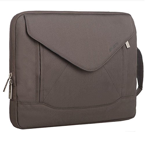 Mosiso Laptop Case, Envelope Nylon Fabric Shoulder Case Messenger Bag Pouch Sleeve for 13-13.3 Inch Laptop / Notebook / MacBook / Chromebook Computers with Shoulder Strap Handle and Pockets, Gray-1
