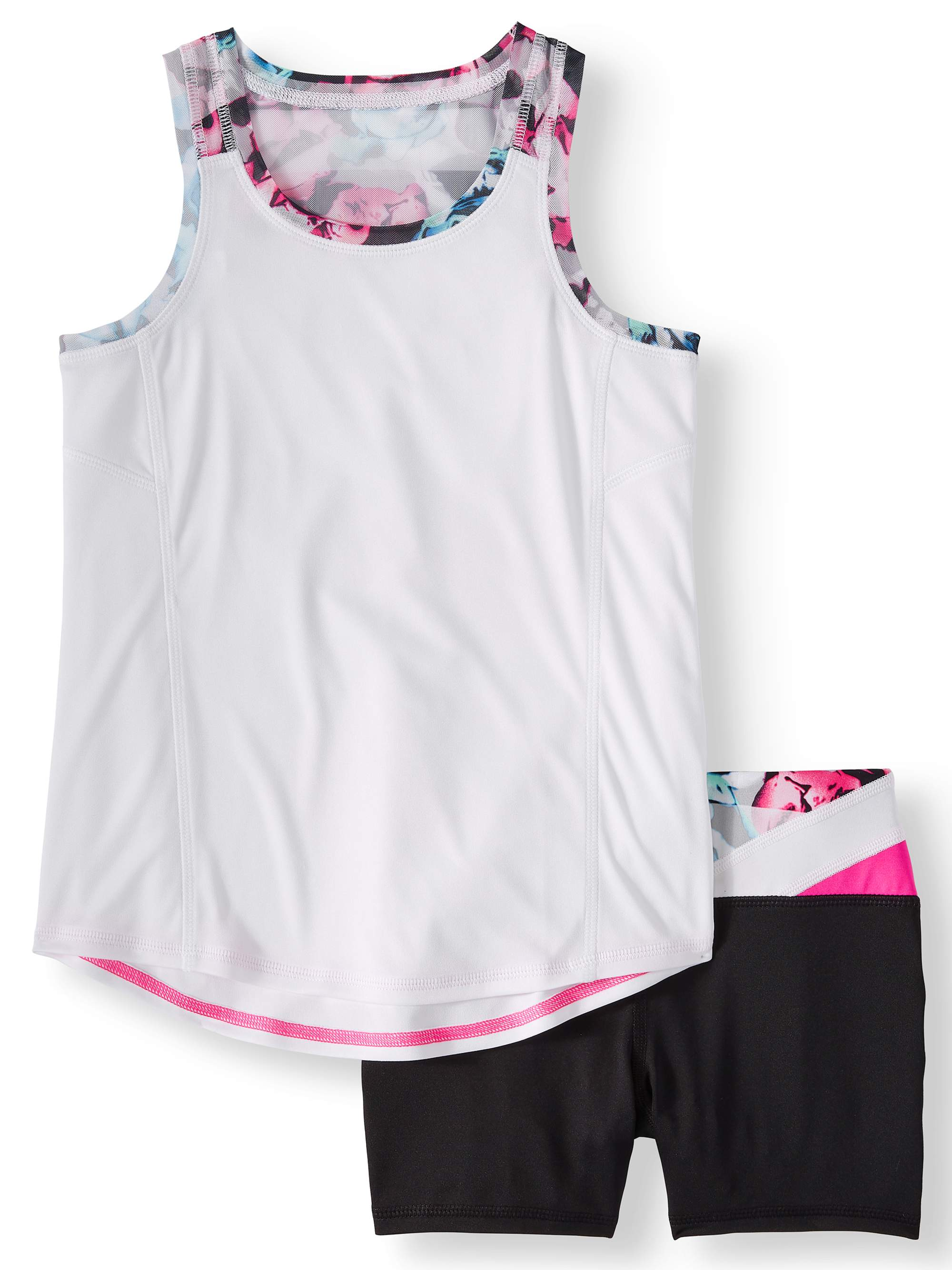 Girls' Active Tank and Bike Short, 2-Piece Athletic Set