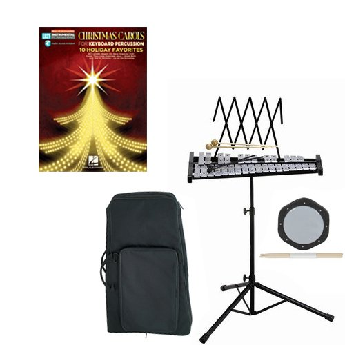 Band Directors Choice Educational Bell Kit Pack Christmas Carols Deluxe w/Carry Bag, Drum Practice Pad & Sticks & Christmas Carols Play Along Book