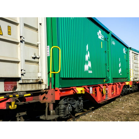 Rail Transportation Set - LAMINATED POSTER Train Rail Transport Container Tracks Station Mav Poster 24x16 Decal