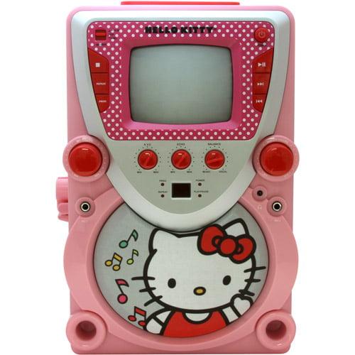 Sakar International Hello Kitty 68109 CD Karaoke System with Screen - Pink, White