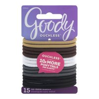 (2 Pack) Goody Ouchless No Metal Hair Elastics, Java Bean 10942, 15 count