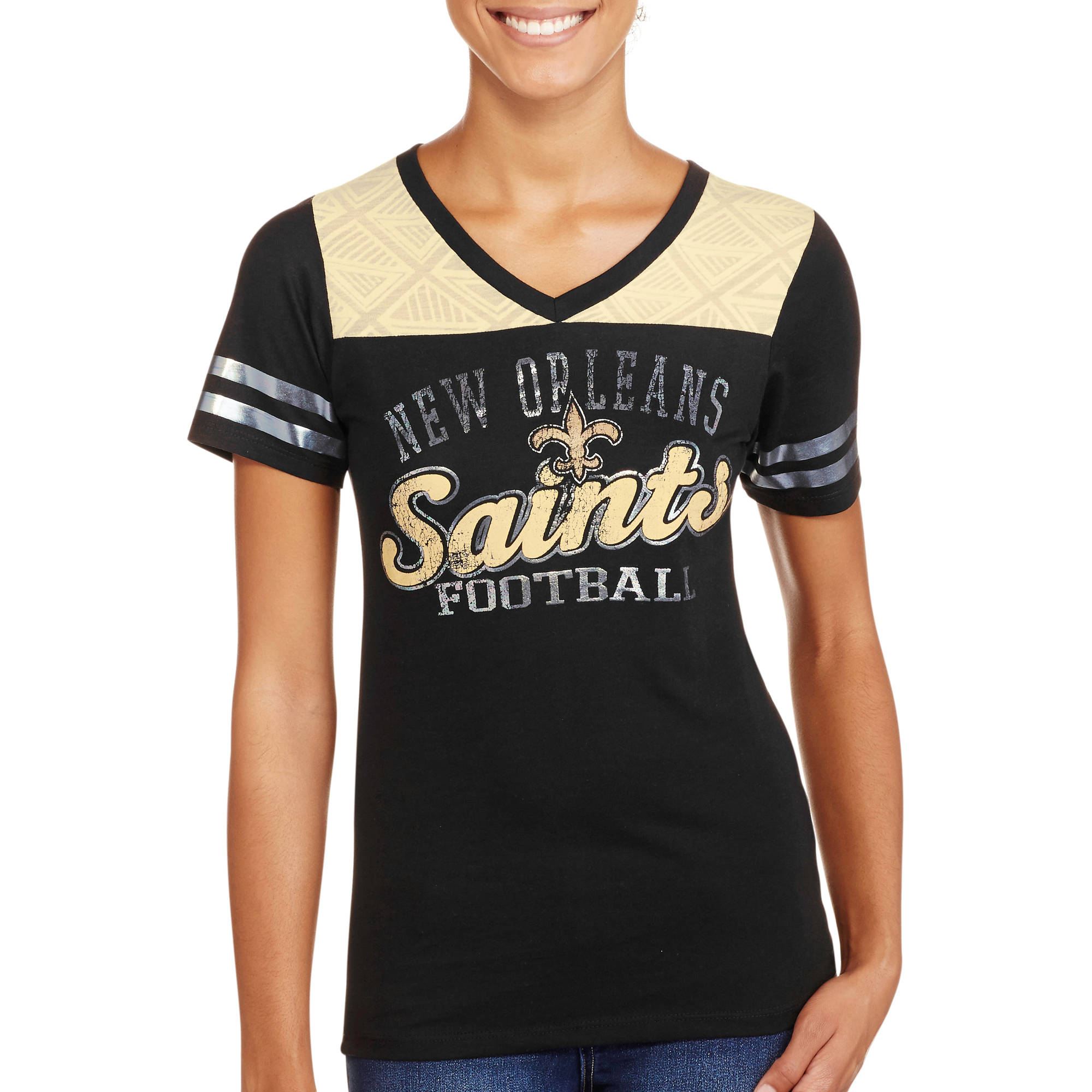NFL Juniors Saints  V Neck Short Sleeve Tee
