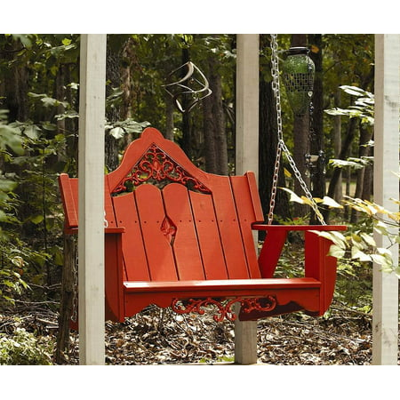 Outdoor Swing In Southern Pine With Cast Inserts White