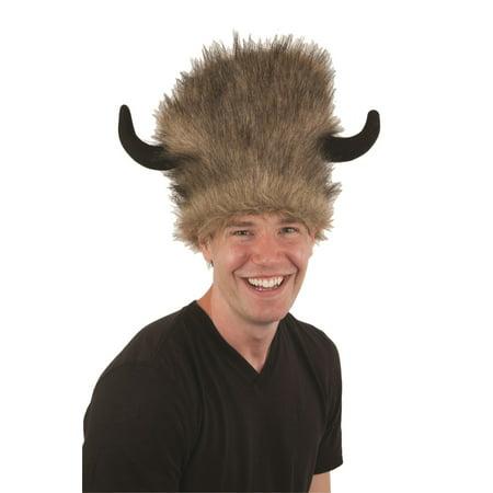 Adult Faux Fur Brown Bison Buffalo Lodge Water Buffalo Hat w/Black Horns Costume - The Lodge Buffalo Halloween
